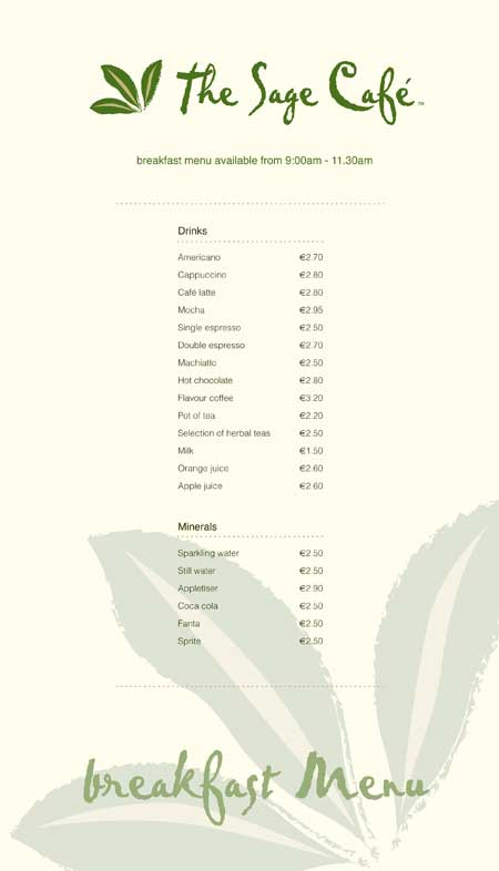 Sage Cafe - Breakfast Menu 2